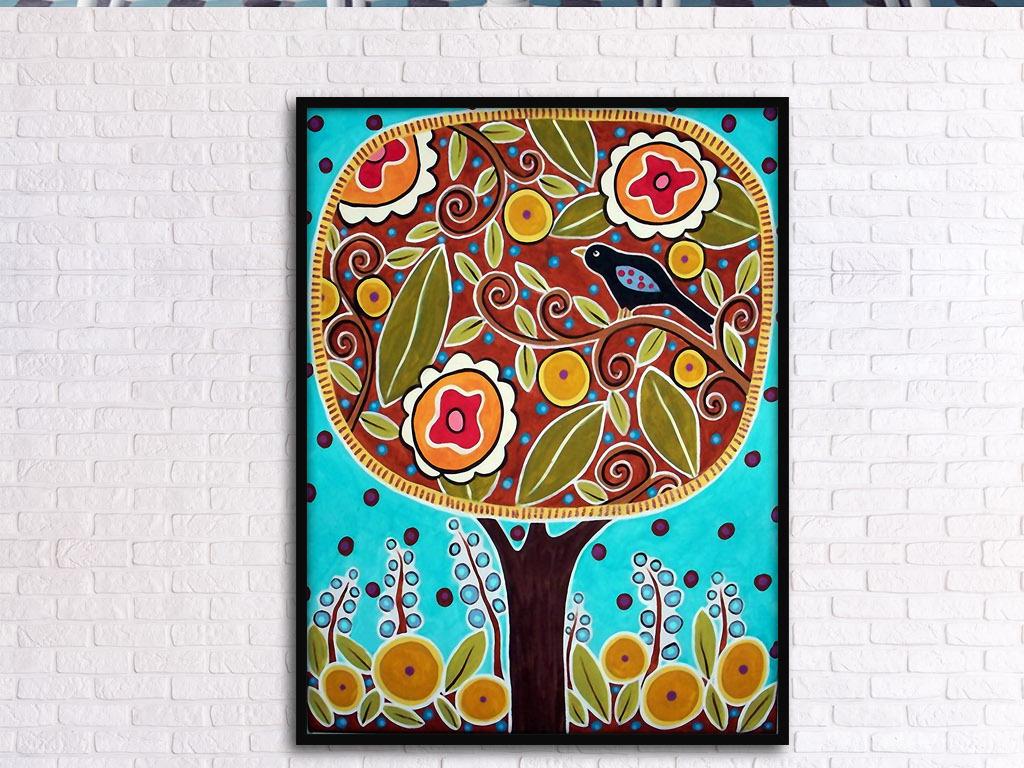 大树上的乌鸦欧式手绘童年彩色室内装饰画
