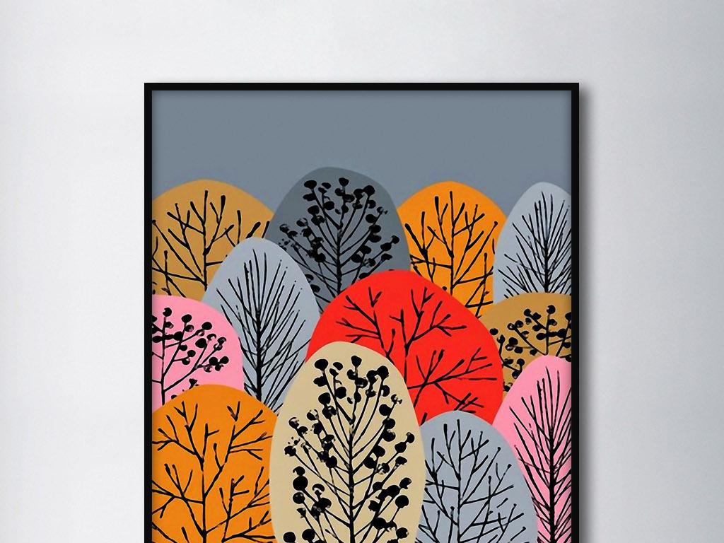 远望树林北欧现代抽象手绘树木森林装饰画