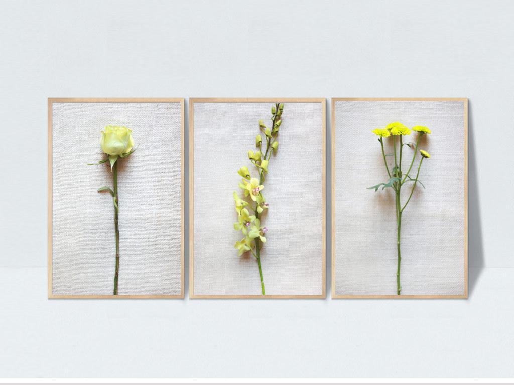 画餐厅挂画三联画手绘花卉花卉无框画3d画绿色小清新简约菊花兰花玫瑰