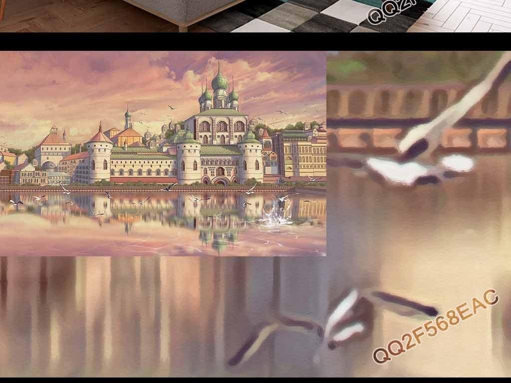手绘梦幻大厦城堡古堡建筑风景油画