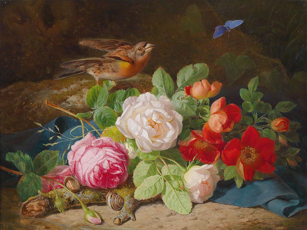 欧式风格手绘油画玫瑰花朵背景墙图片