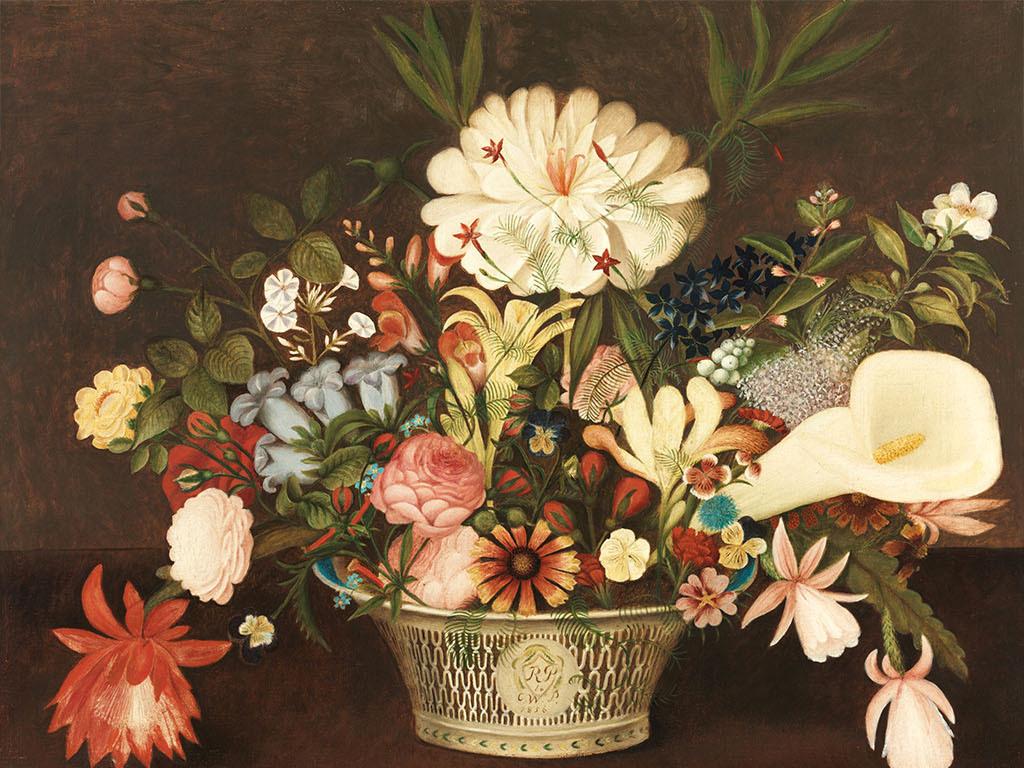 欧式风格手绘花朵背景墙