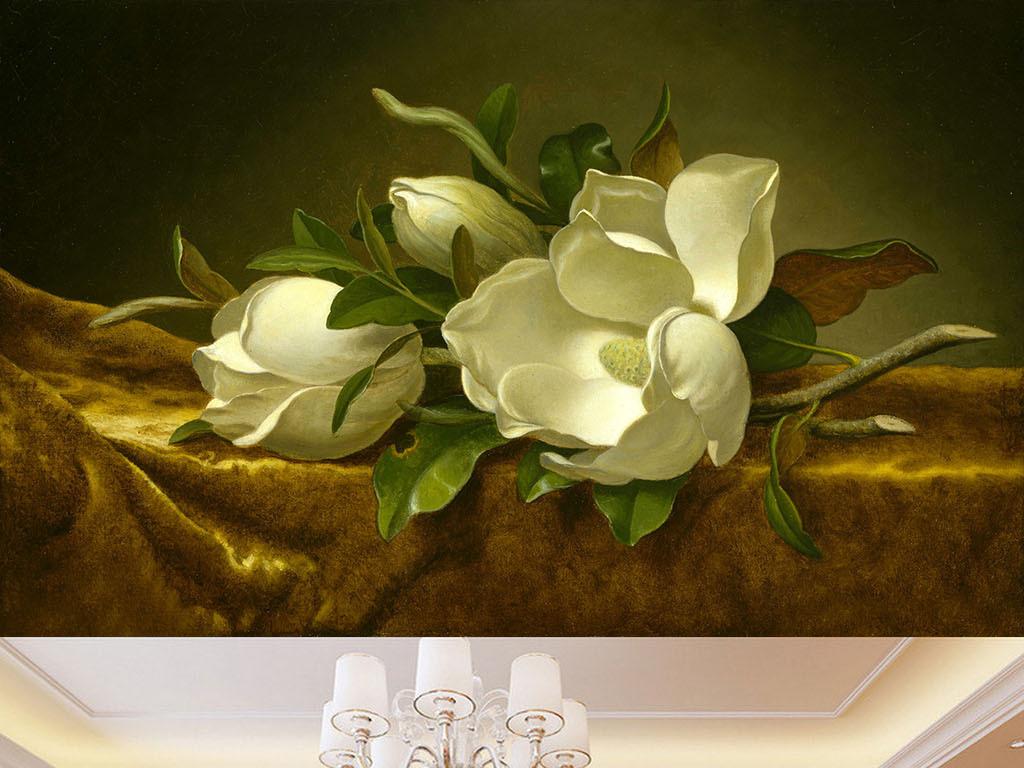 欧式手绘风格油画花朵背景墙