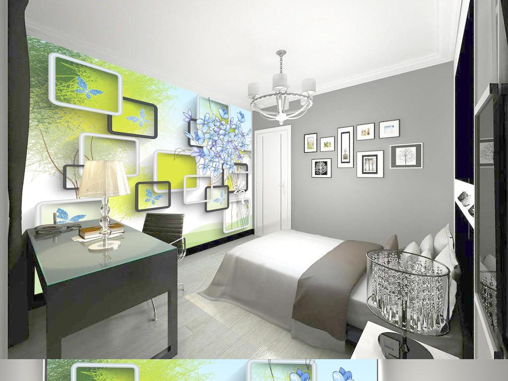我图网提供精品流行3d抽象蓝色花背景墙
