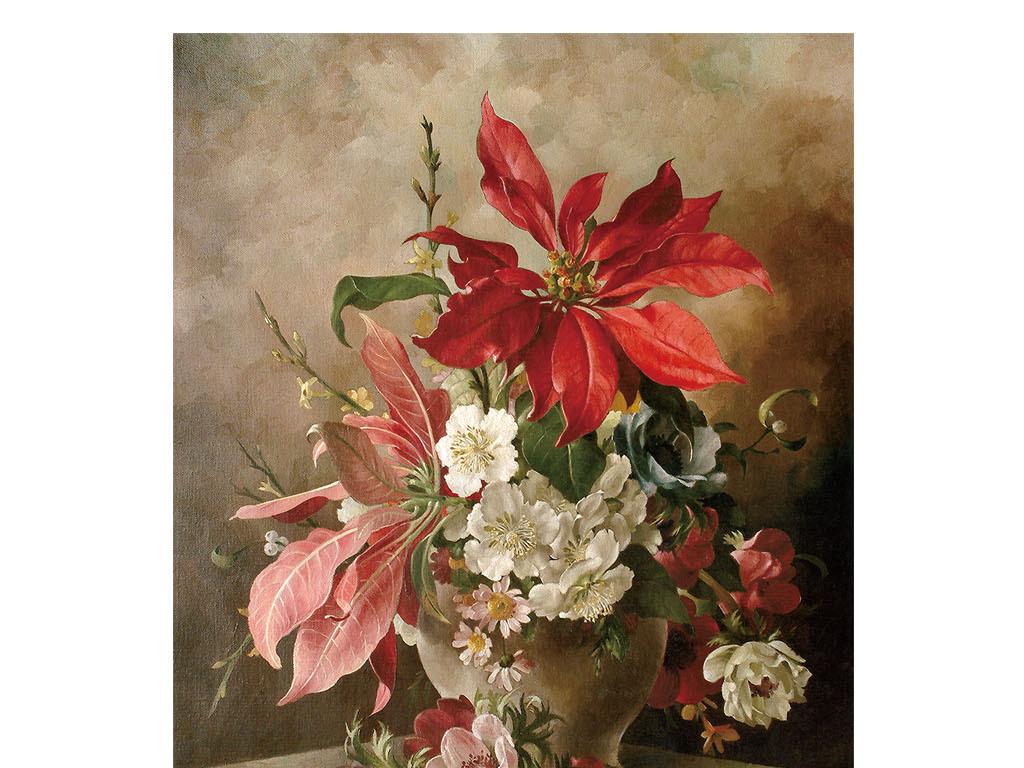 欧式风格手绘花朵油画玄关过道背景墙
