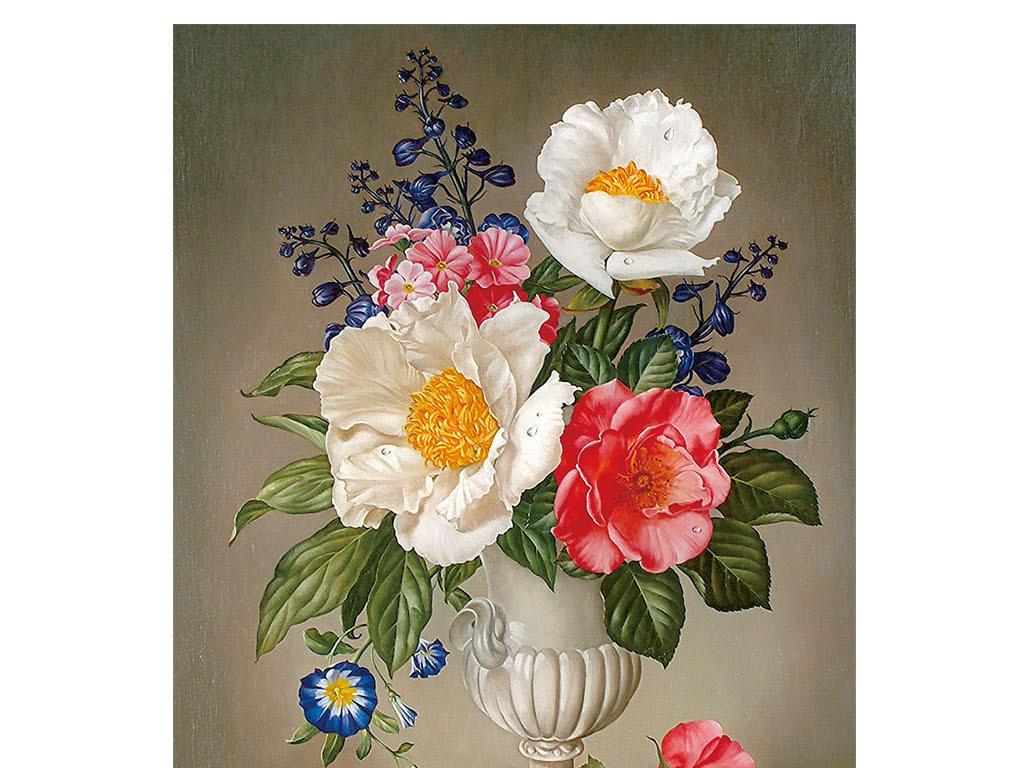 欧式手绘油画花朵玄关过道背景墙