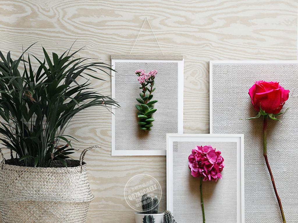 手绘3d立体彩色花卉五联无框装饰画