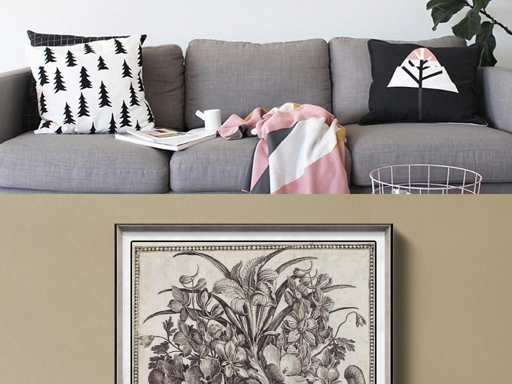 古典花卉素描高清客厅沙发装饰画