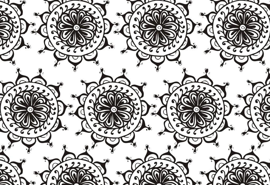 欧式花纹植物花卉简笔画图片