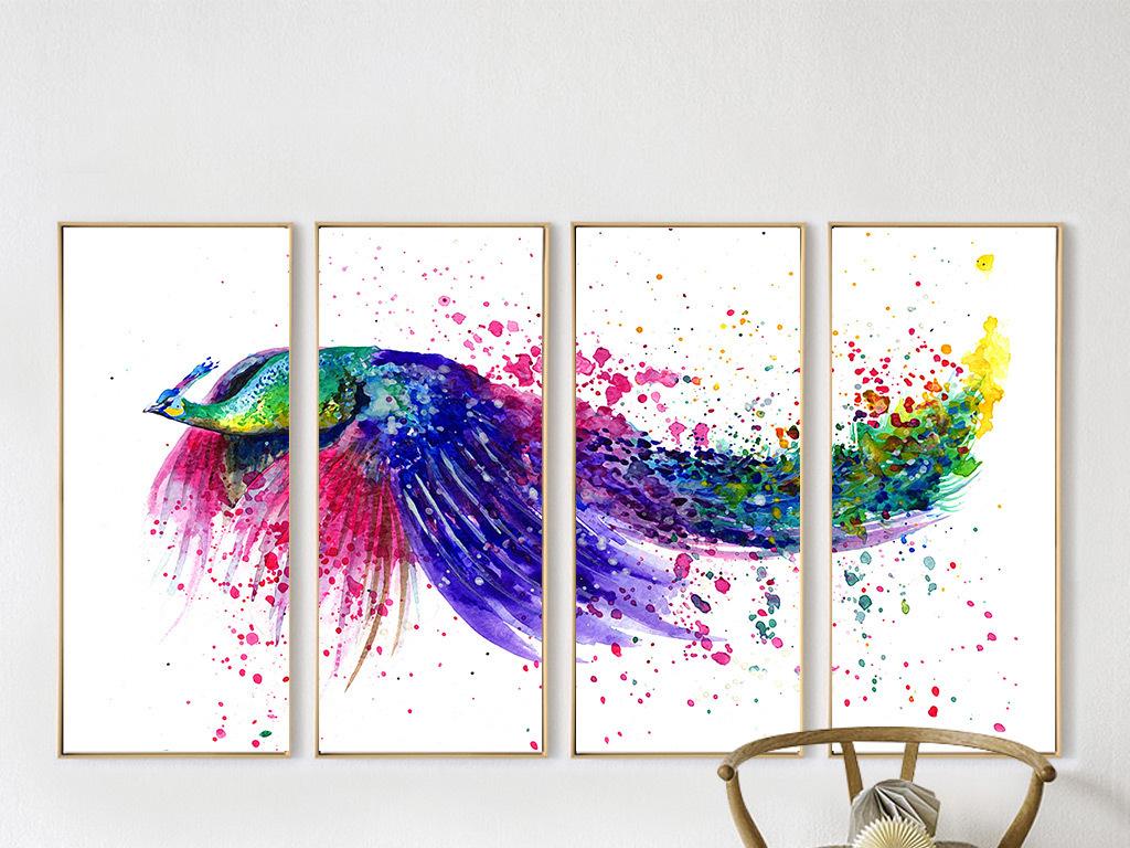 手绘七彩展翅飞翔的孔雀喷墨艺术无框画