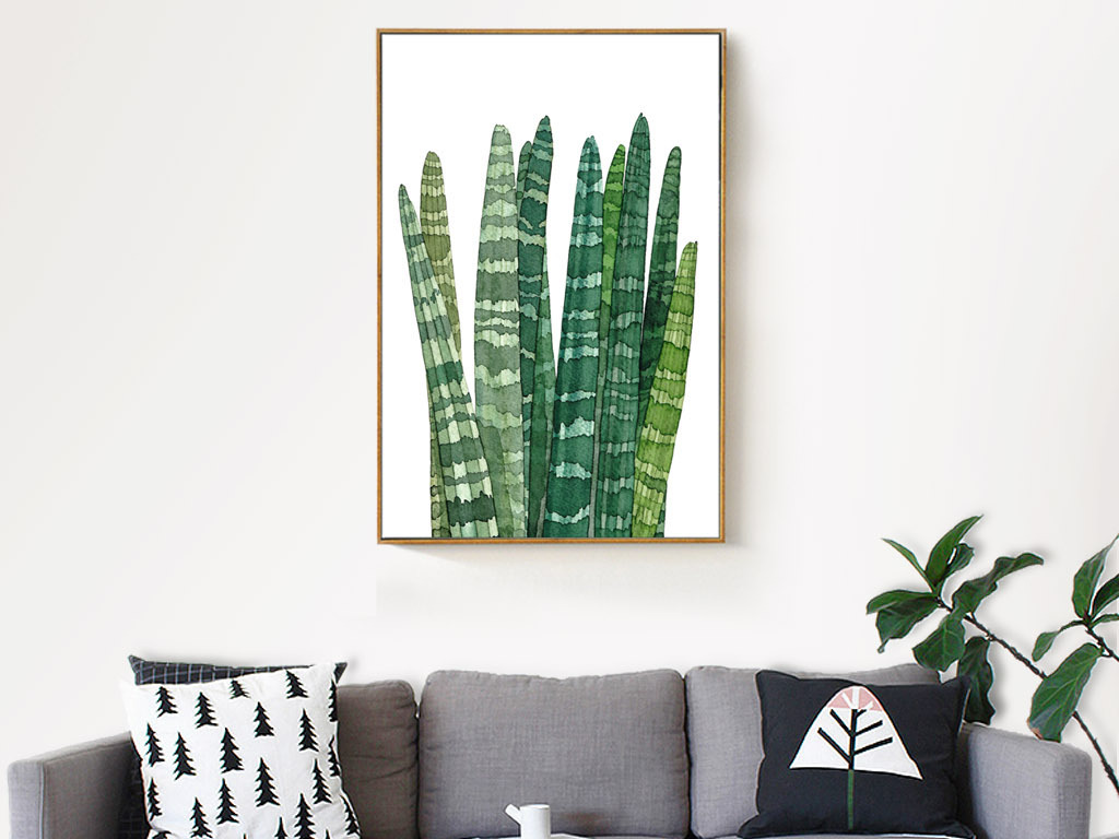 现代简约北欧水彩虎皮兰绿植植物客厅装饰画