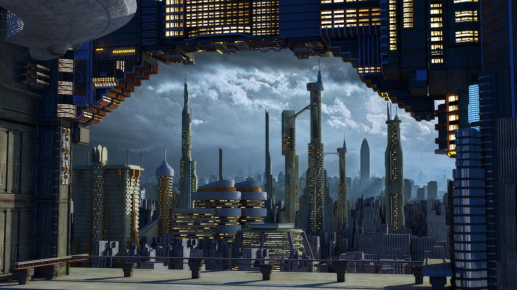 3d未来外太空科幻城市科幻元素外星模型图片