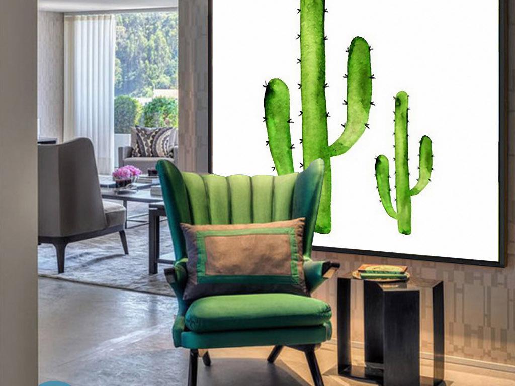 两株仙人掌绿色手绘水彩欧式小清新装饰画