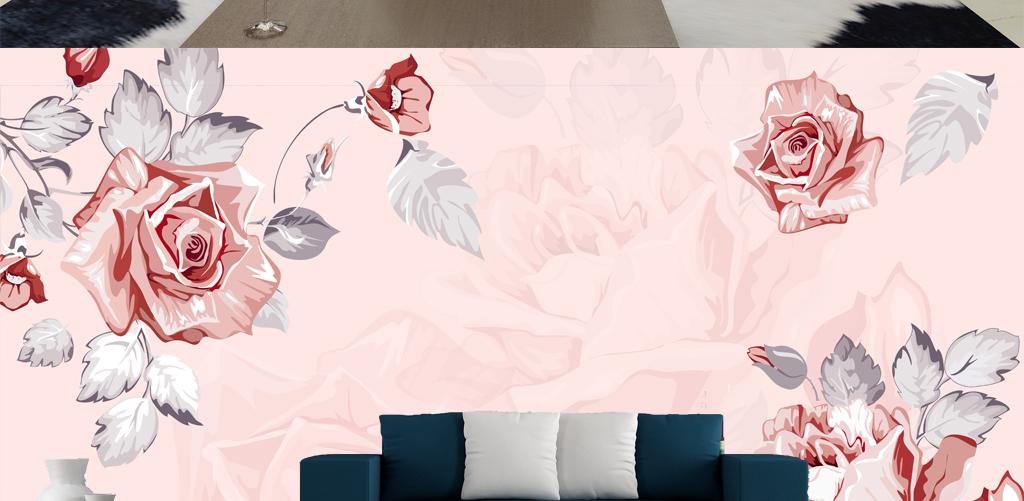 背景墙|装饰画 电视背景墙 手绘电视背景墙 > 唯美浪漫梦幻花卉装饰