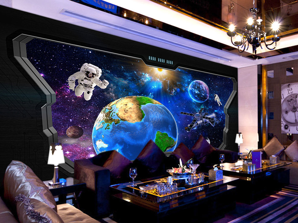 窗户窗外的宇宙空间站科幻壁画电视工业风装修3d贴图3d室内效果图下载图片