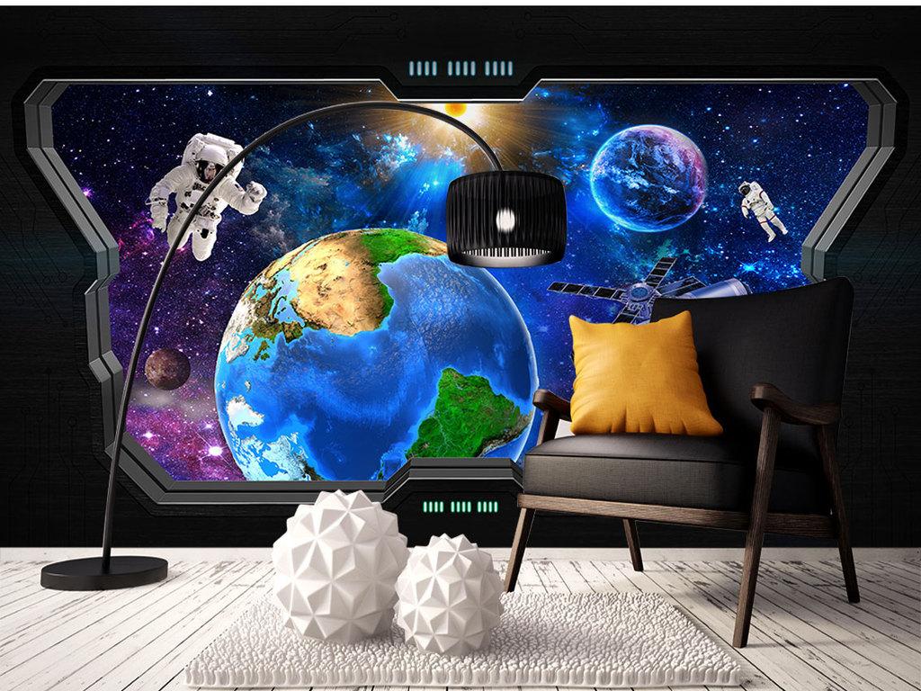 窗户窗外的宇宙空间站科幻壁画电视工业风装修3d贴图3d室内效果图下图片