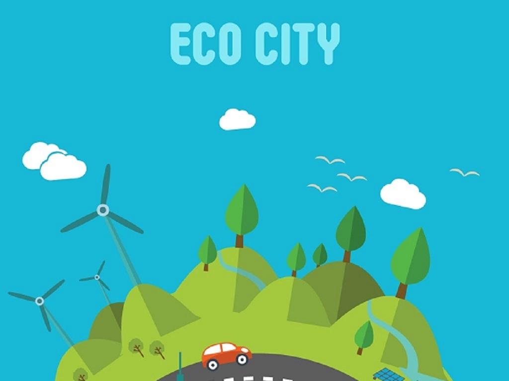 环境保护日海报宣传背景设计素材卡通扁平化手绘城市建设绿色生态矢量