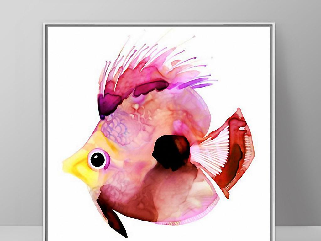 背景墙|装饰画 无框画 动物图案无框画 > 彩色热带鱼可爱手绘海洋鱼类