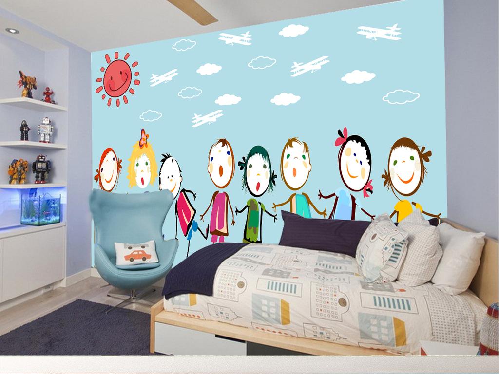 手绘蓝色简约儿童背景墙(图片编号:16037789)