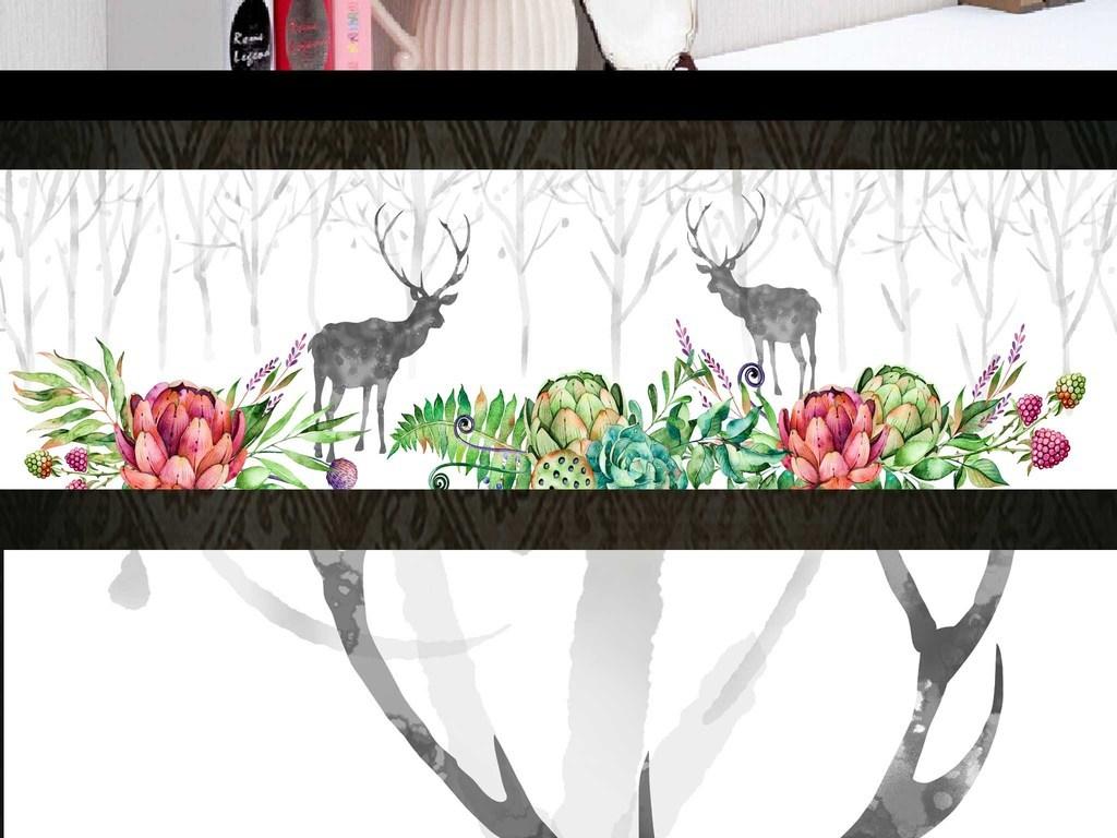 多肉植物手绘花卉客厅画床头装饰画北欧风格北欧森林森林鹿风格床头