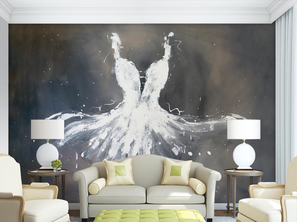 手绘油画服装店婚纱壁纸背景墙