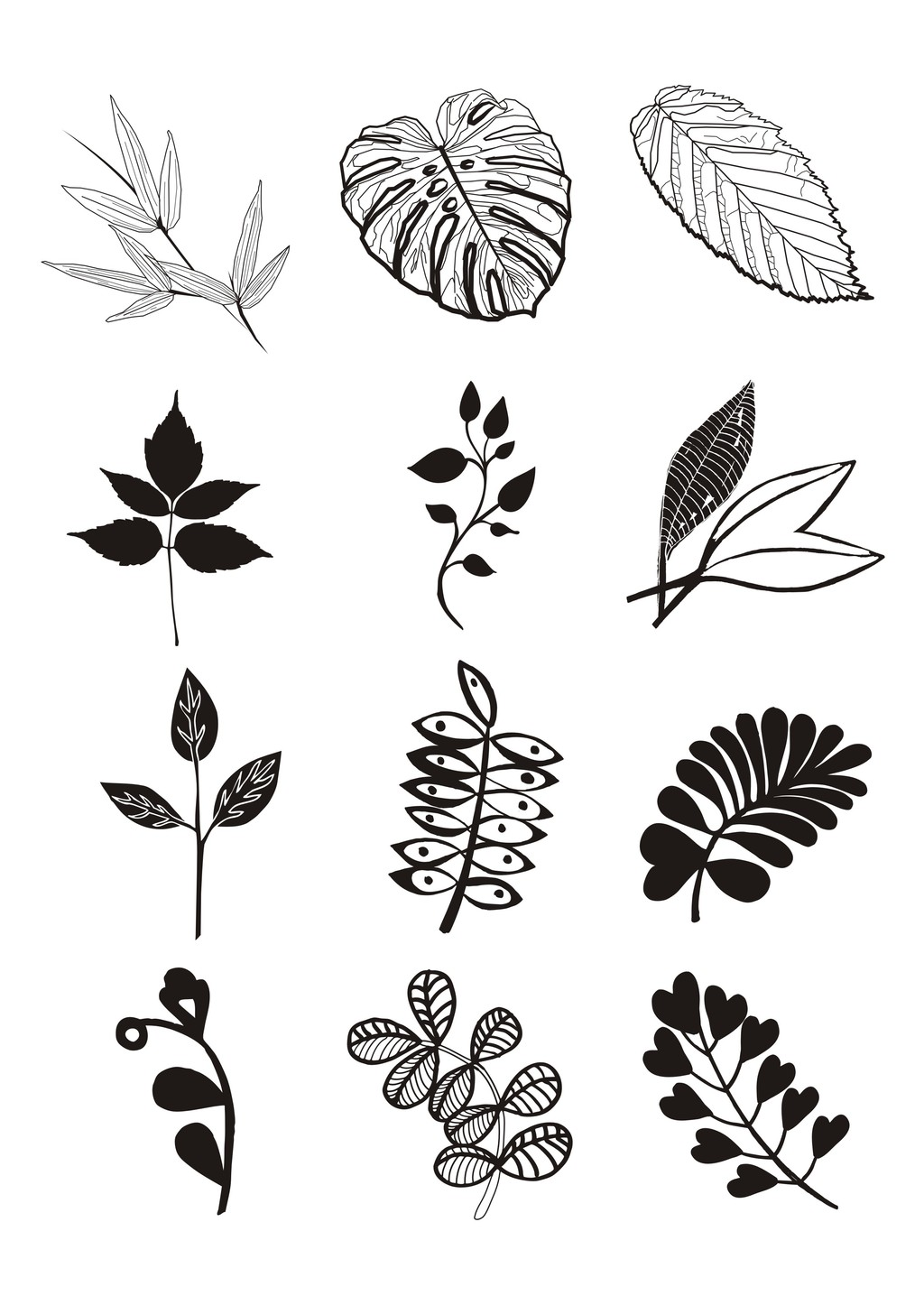 植物花卉简笔装饰画叶子