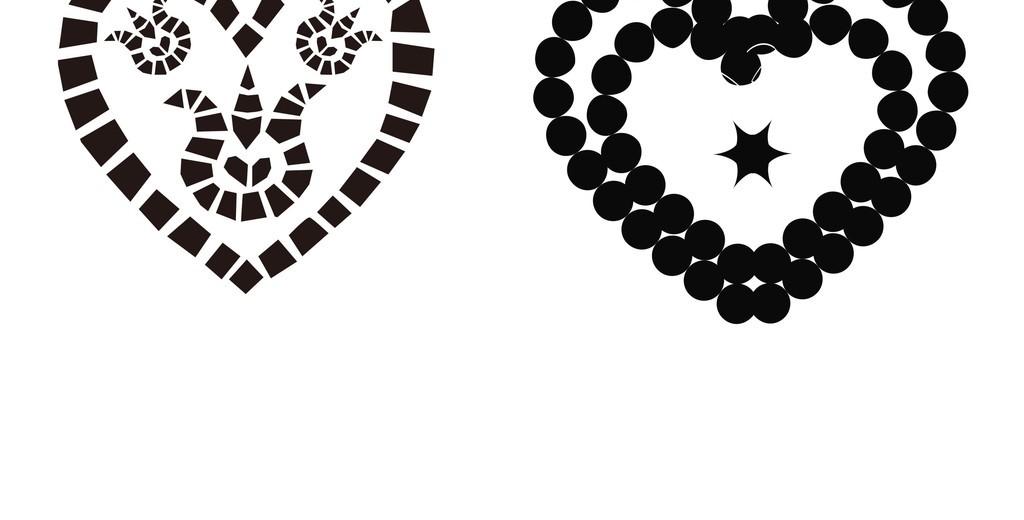 黑白插画                                  心形