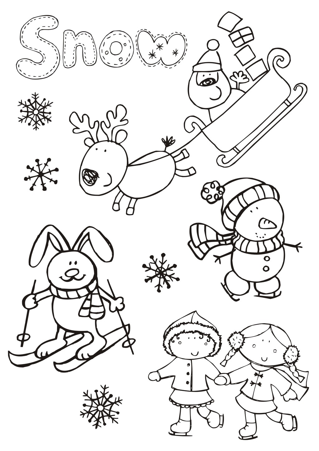 卡通动物简笔画圣诞节元素下载 卡通动物简笔画圣诞节元素图片素材其