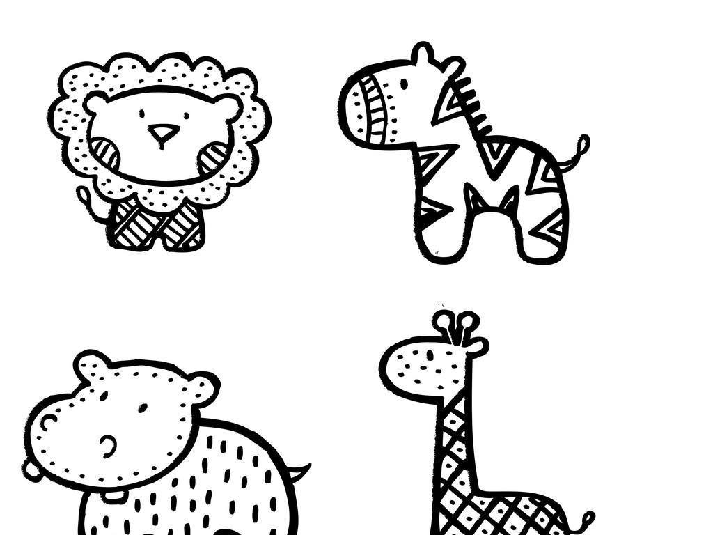 卡通动物简笔画(图片编号:16038527)