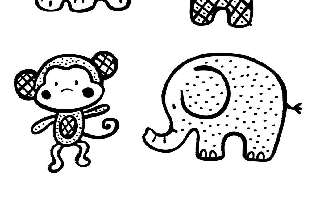 卡通动物简笔画
