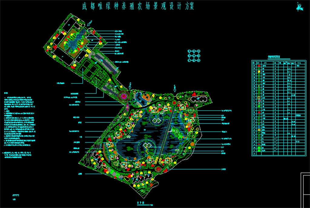 养殖场绿化景观cad总平面图