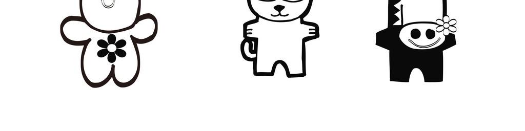 插画生活元素幼儿儿童简笔画                                  黑白