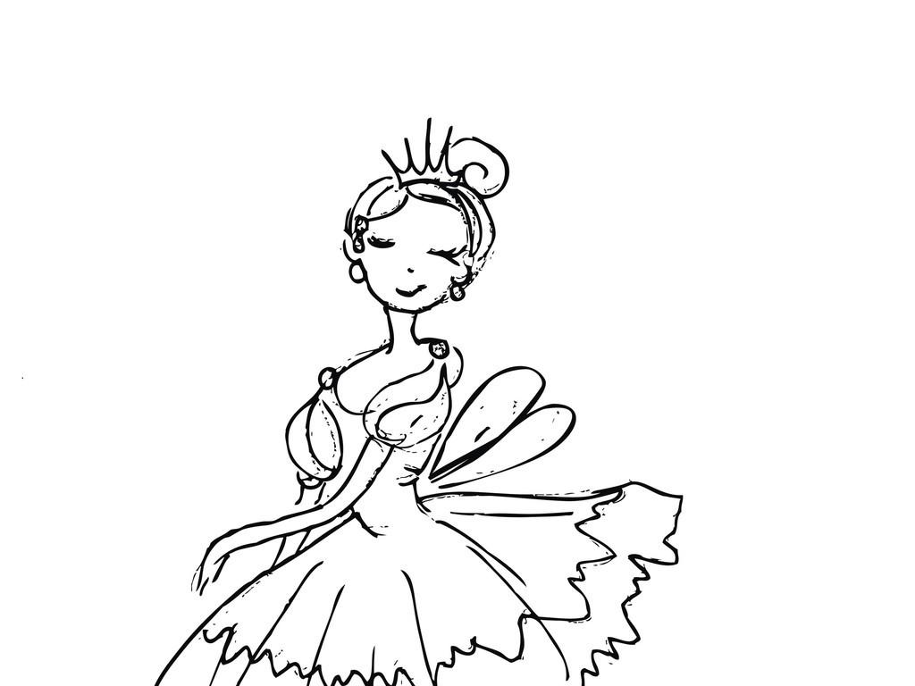 卡通人物简笔画舞蹈女孩