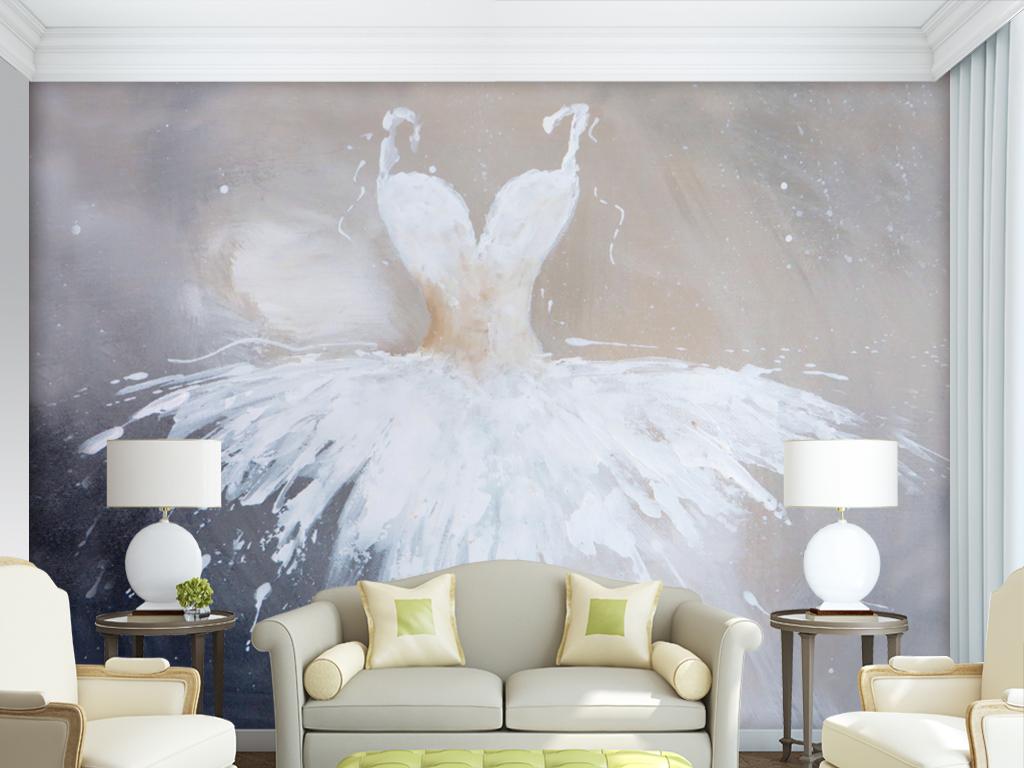 作品模板源文件可以编辑替换,设计作品简介: 手绘油画服装店婚纱壁纸
