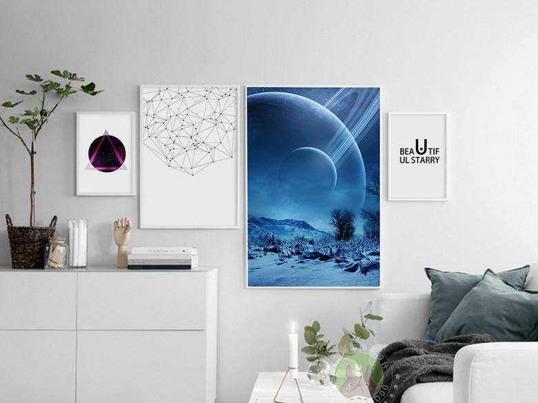 北欧简约几何星球装饰画