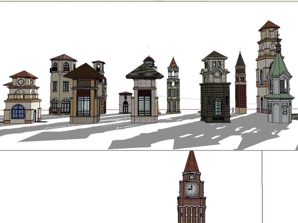 16个欧式塔楼钟楼合集su模型