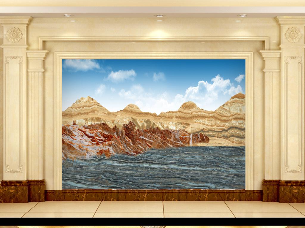 欧式背景墙风景画大气背景大理石背景高清风景画大理