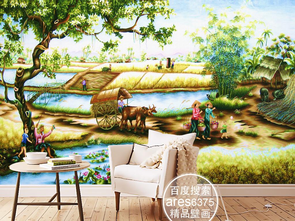 手绘江南乡村田园风景丰收景象壁画背景墙