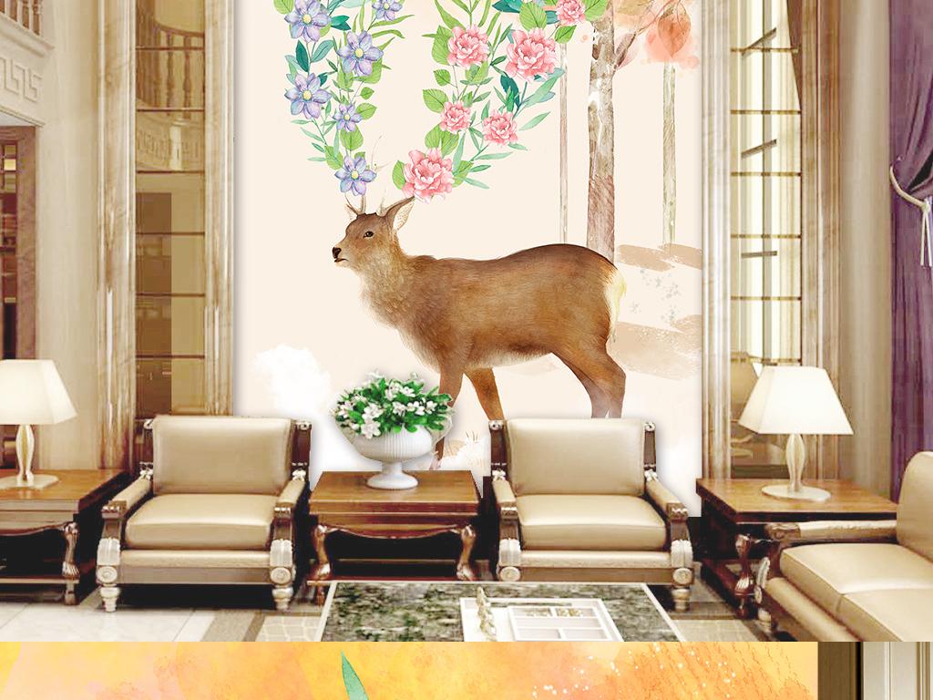 房走廊过道手绘麋鹿手绘背景森林麋鹿梦幻背景唯美背景森林背景圣诞麋