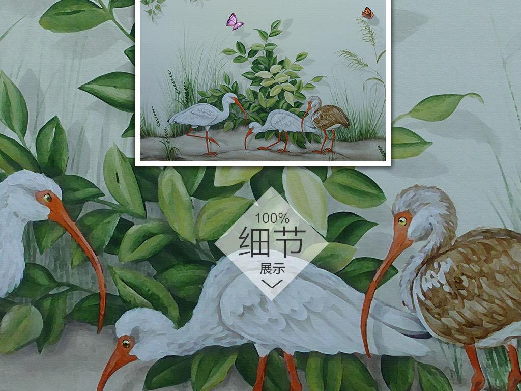 欧式手绘怀旧复古花鸟背景墙壁画