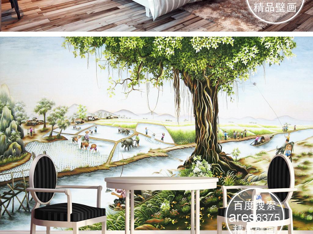 手绘油画江南乡村风景插秧荷塘壁画背景墙