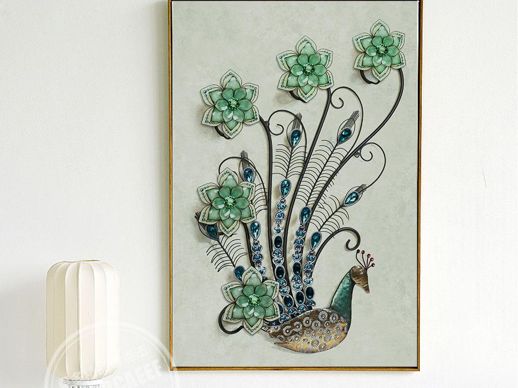 背景墙|装饰画 无框画 动物图案无框画 > 3d立体创意家和富珠宝孔雀无