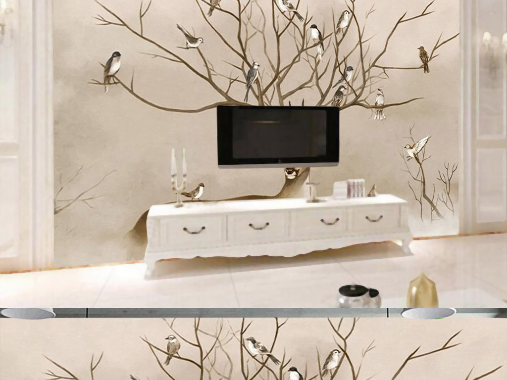 欧式水彩油画鹿角鸟