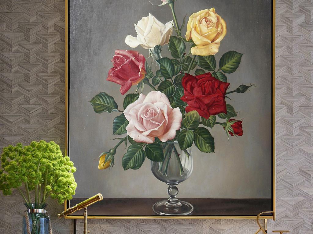 欧式手绘油画玫瑰花朵无框画图片