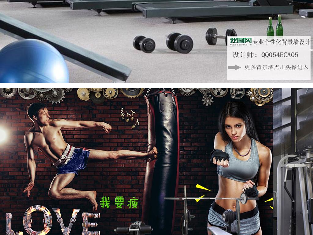 男人健身美女马甲线个性照片ktv健身房美体肌肉爆裂