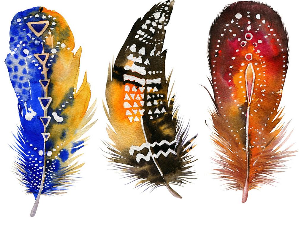 唯美素材多彩素材素材手绘鸟毛主席毛毛笔笔刷毛笔画