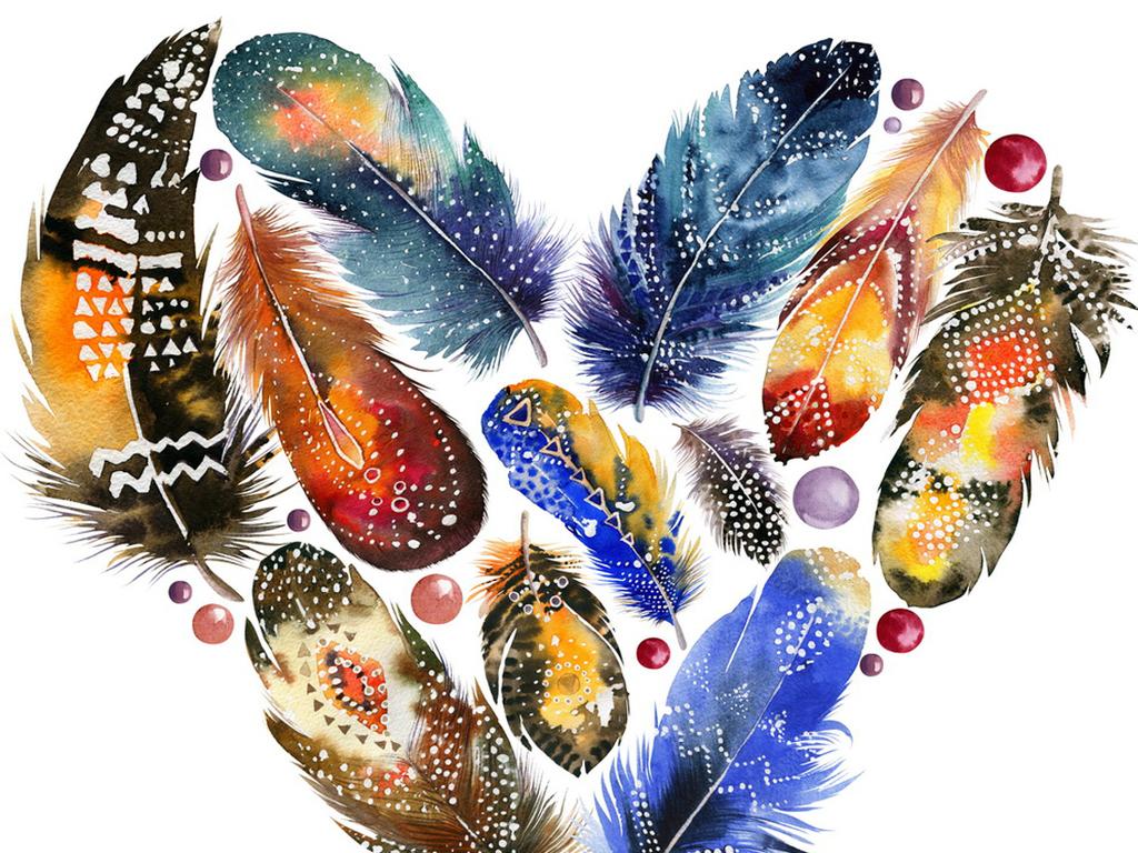 唯美多彩手绘羽毛png素材