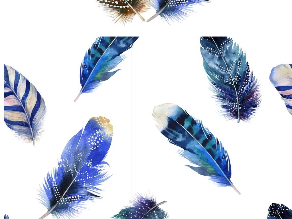 唯美彩色手绘羽毛png素材