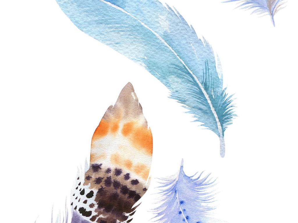 唯美彩色手绘小鸟羽毛素材