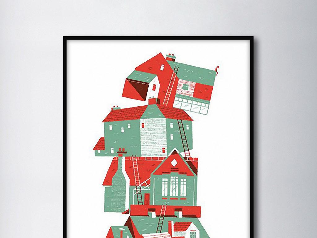 阶梯房子北欧抽象建筑欧式手绘现代装饰画